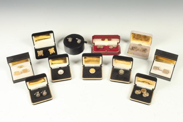 MEN'S ACCESSORIES: 8 PAIRS OF CUFFLINKS AND THREE BUTTON COVERS,