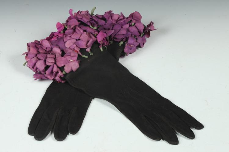 VINTAGE PAIR OF BLACK SUEDE GLOVES WITH PURPLE FLOWERS ON CUFF, 1930's, size small.