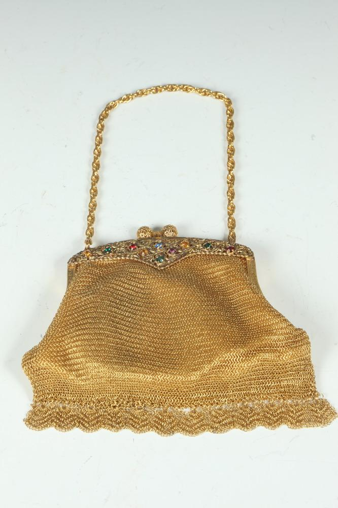 VINTAGE GOLD-TONE MESH MINAUDIERE WITH SEMI-PRECIOUS STONES; SHORT FRINGE ON BOTTOM, LINED WITH SATIN, - 5 1/2