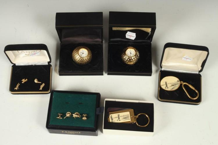 MEN'S ACCESSORIES : GOLF-THEMED ITEMS: 2 KEY CHAINS; 2 SMALL GOLF BALL-SHAPED CLOCKS, 2 GROUPS OF BUTTON STUDS,