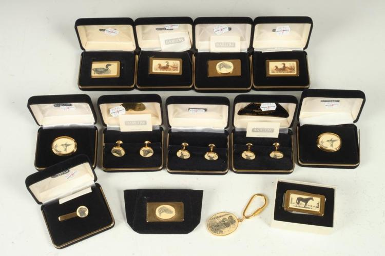 SELECTION OF MEN'S ANIMAL-THEMED ACCESSORIES: CUFFLINKS, KEY CHAIN, BUTTON COVERS, MONEY CLIPS, AND TIE CLIP,