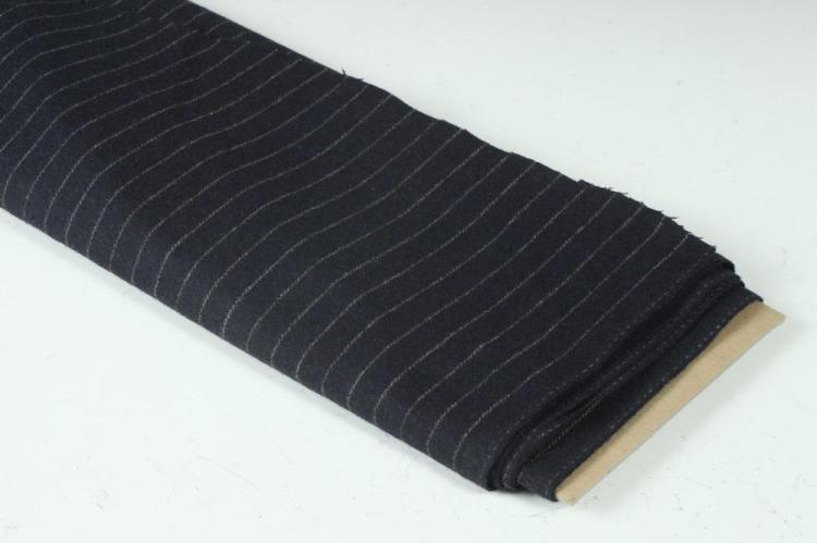 NAVY BLUE PINSTRIPED WOOL FABRIC.