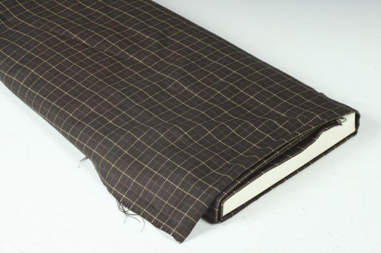 CHARCOAL GREY WOOL FABRIC WITH BEIGE AND LIGHT BROWN MOTIF.