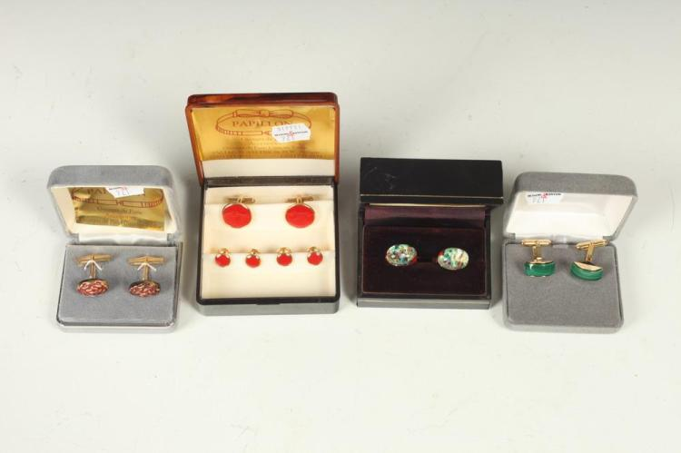 MEN'S ACCESSORIES: THREE PAIRS OF CUFFLINKS AND ONE SET OF BUTTON STUDS,