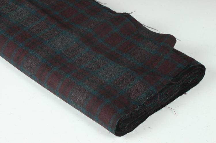 AUBERGINE, GREY TEAL PLAID WOOL FABRIC.