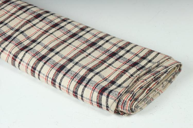 CREAM, RED AND BLACK PLAID WOOL FABRIC.