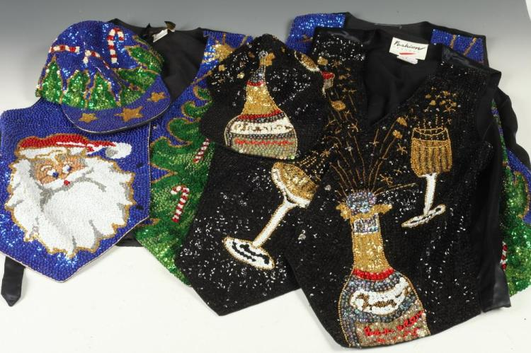 HOLIDAY-THEMED SEQUINED CLOTHING: TWO CHRISTMAS VESTS WITH ONE HAT; ONE NEW YEAR'S EVE VEST WITH ONE HAT.