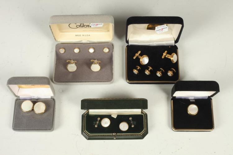 MEN'S ACCESSORIES: SELECTION OF MOTHER-OF-PEARL CUFFLINKS AND BUTTON STUDS.