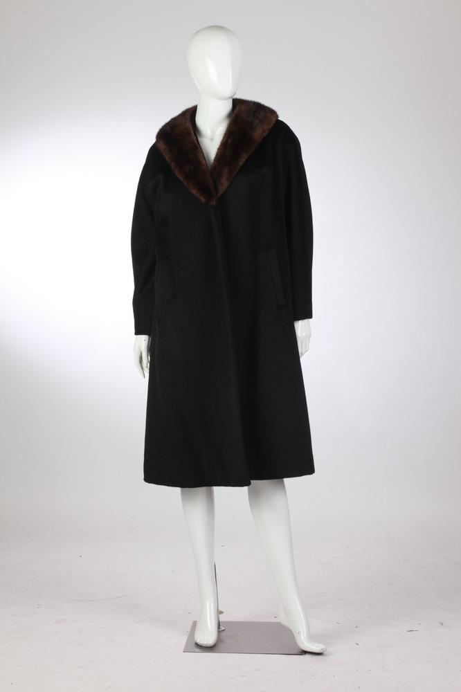 FRANK GALLANT MINK-TRIMMED BLACK WOOL COAT, 1950s, retailed Julius Garfinckel & Co., Washington, DC; using Forstmann virgin wool.