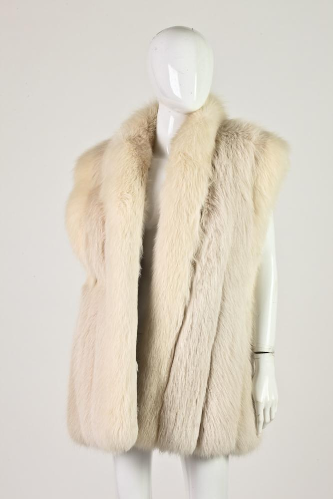 REVILLON WHITE FOX FUR VEST. Retailed Saks Fifth Avenue.