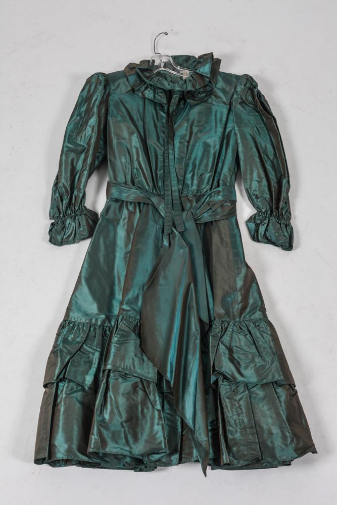 SCHERRER BOUTIQUE TEAL IRIDESCENT TAFFETA DRESS. size small.