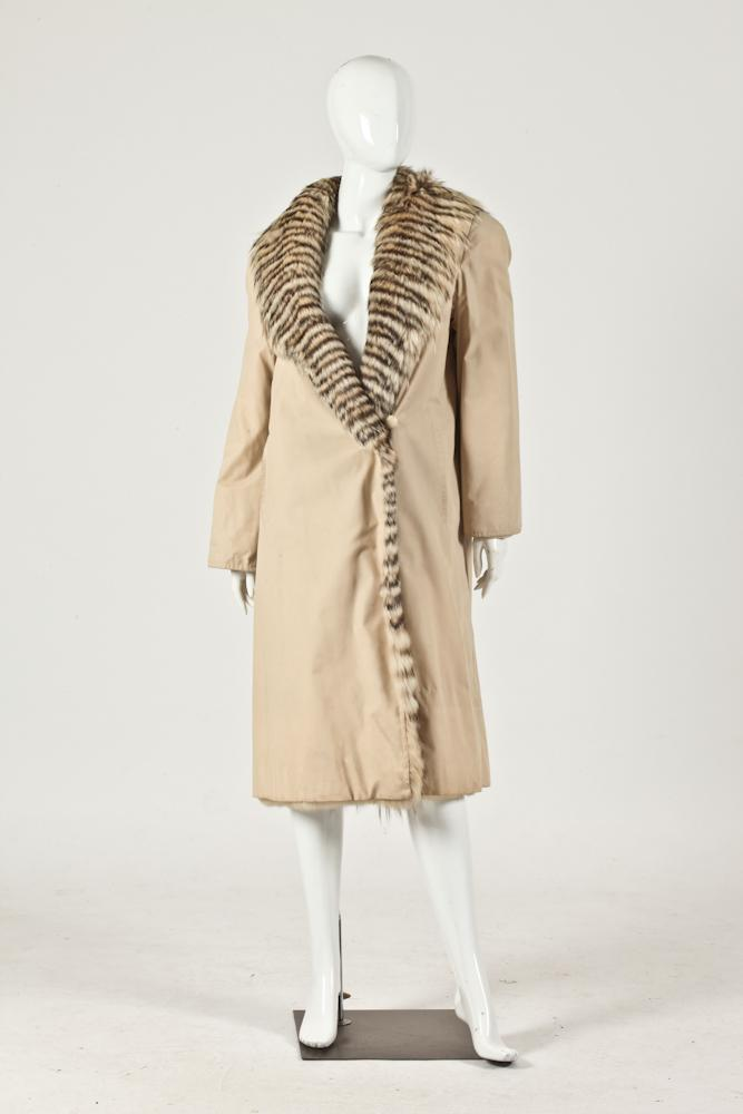 FENDI NYLON COAT FUR TRIM, Size small/medium.