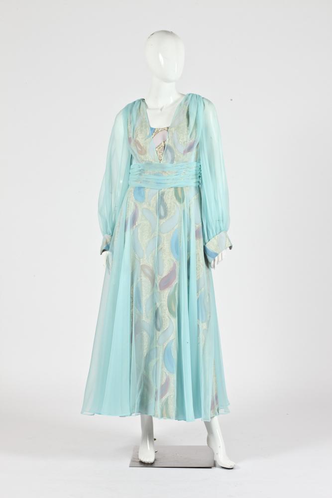 VINTAGE LILLIE RUBIN PAISLEY SILK DRESS FROM 1979, Size 8-10.