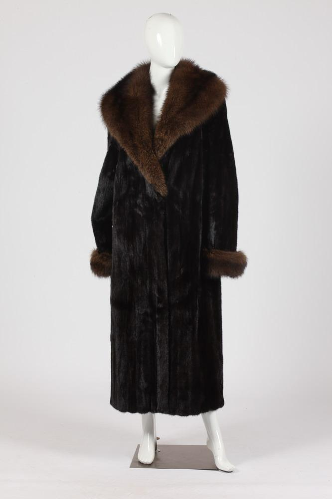 HELEN FRUSHTICK BLACK MINK FUR COAT WITH BROWN RANCH MINK TRIM. Size large.