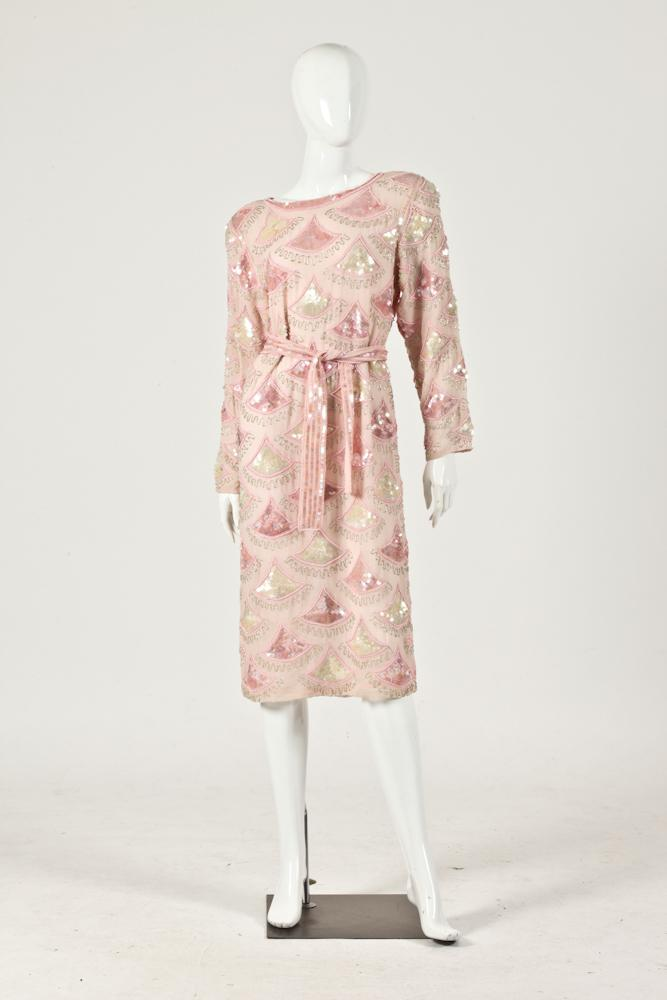 VINTAGE PINK BEADED DRESS, Made in India.
