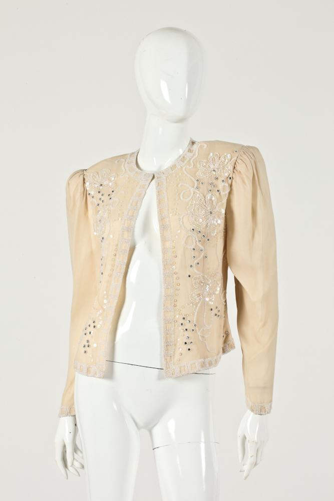 VINTAGE OLEG CASSINI CREAM-COLORED SILK BLOUSE WITH BEADED DETAIL, Size medium.