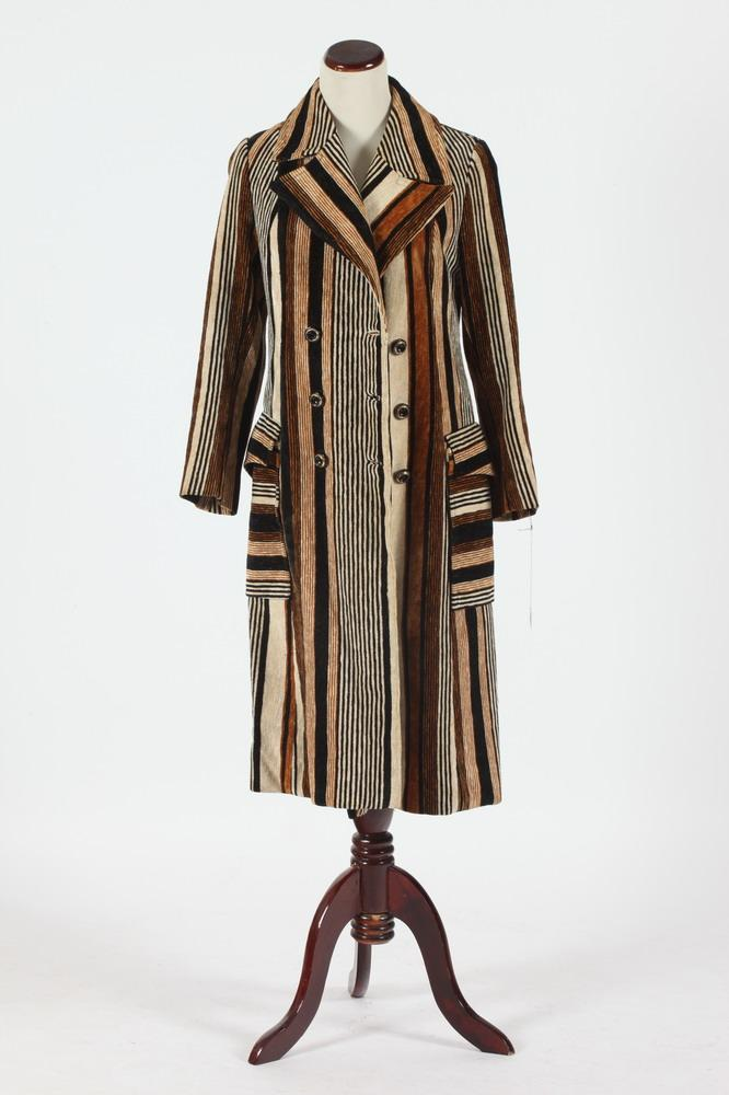 VINTAGE ACAB LONG VELOUR COAT WITH BLACK, BROWN, GOLD STRIPES. Size small.