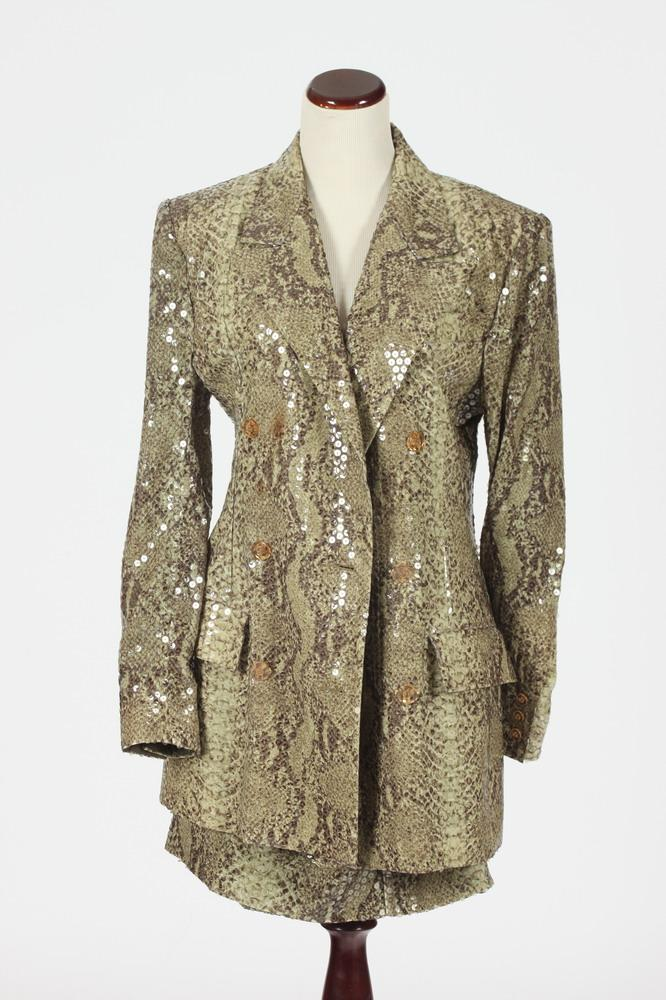 SCHERRER FAUX SNAKESKIN JACKET AND MATCHING SKIRT, Size 44.