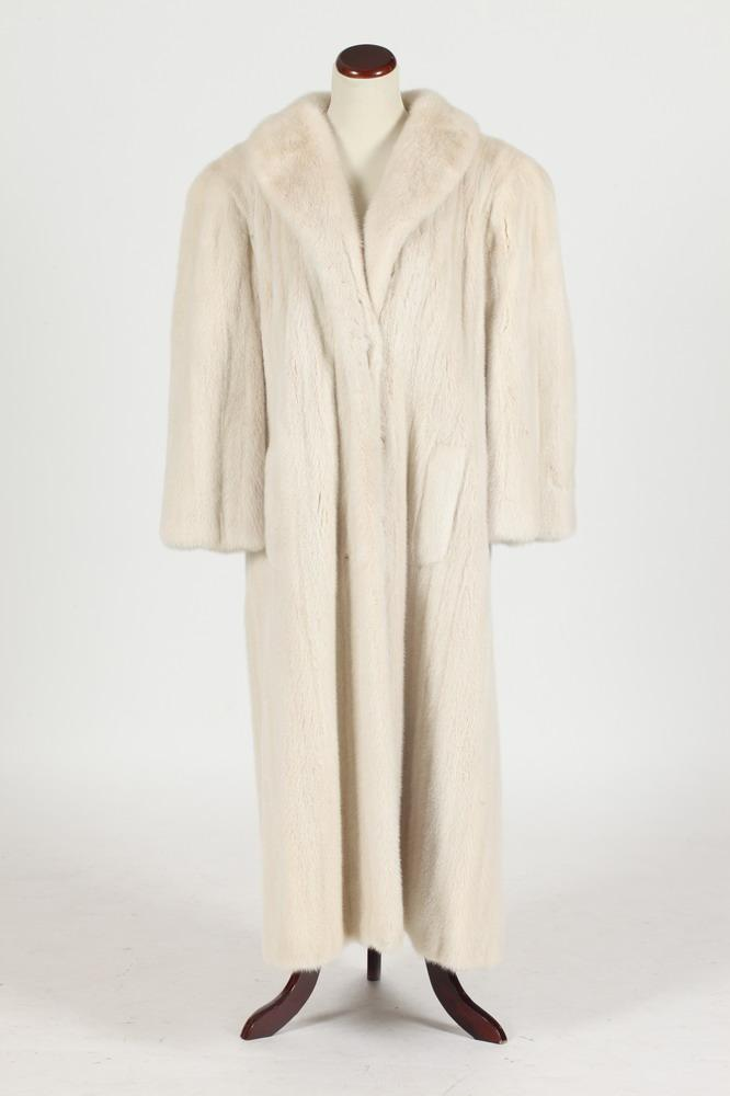 WHITE MINK COAT BY SAKS JANDEL, FULL-LENGTH, Size large.