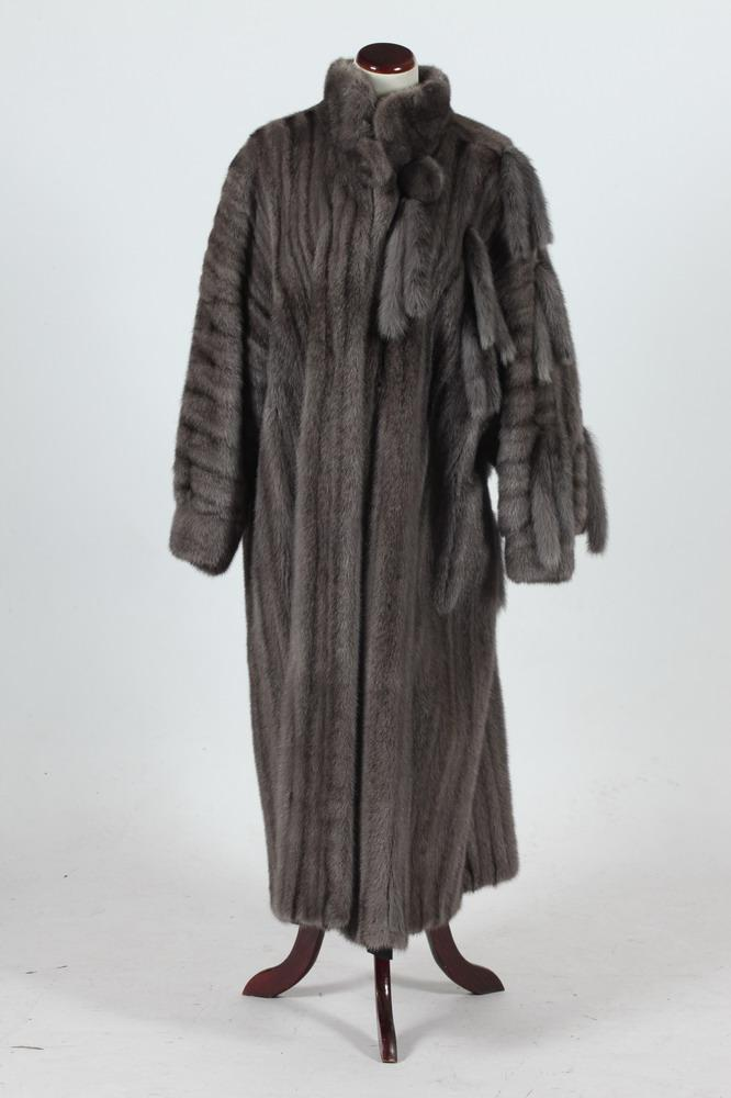 GREY FUR COAT WITH TAILS BY HILLIS, PALM SPRINGS, Size medium/large.