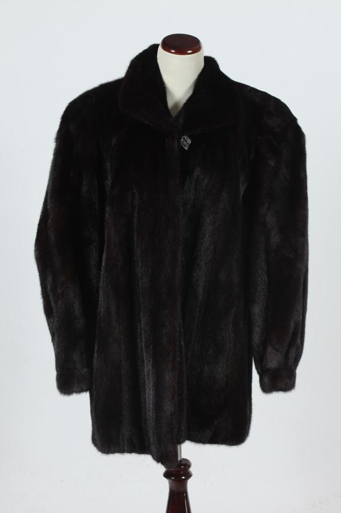 PERRY ELLIS BLACK FUR JACKET , Size medium.