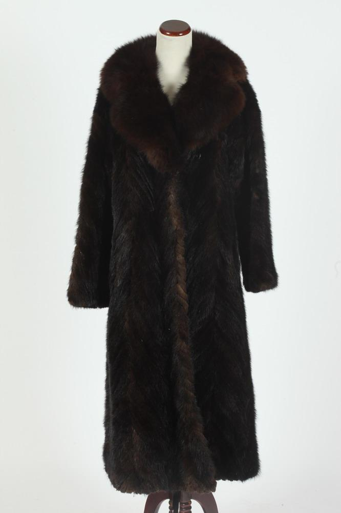 LONG BROWN MINK COAT FROM MILLERS FURS, size large.