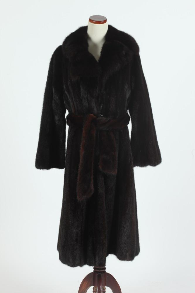 FUR COAT 3/4 LENGTH WITH MATCHING BELT BY PIERRE FURS PARIS-NEW YORK, size small.