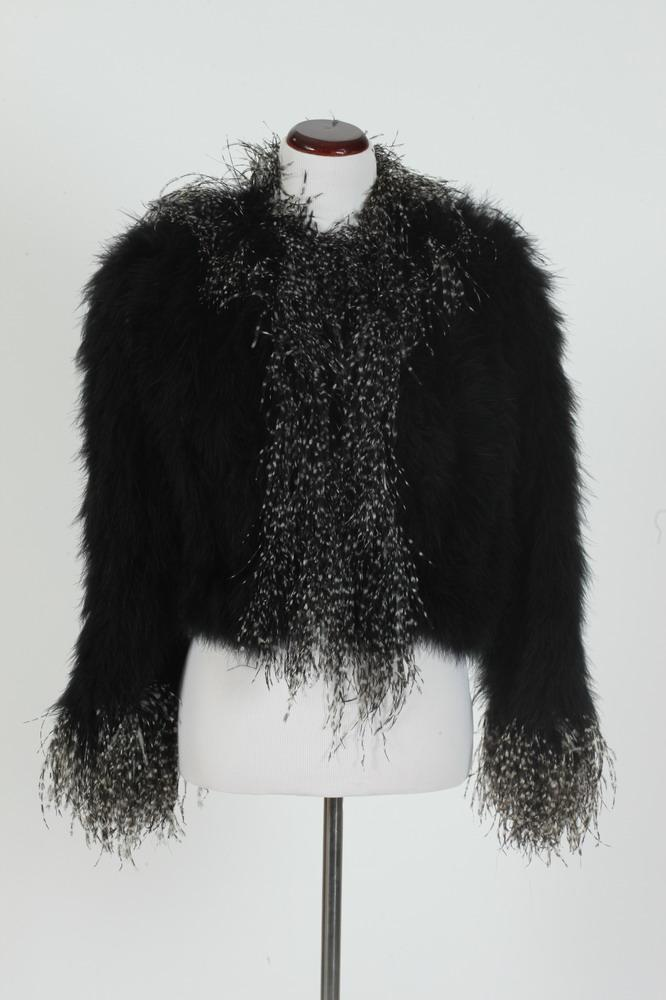 BLACK OSTRICH FEATHER JACKET WITH BLACK AND WHITE FEATHER TRIM, size small.