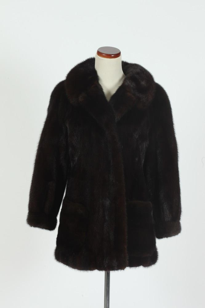 HIP-LENGTH BROWN MINK JACKET BY LEONARD FURS, size small.