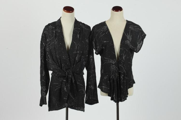 VINTAGE BLACK BLOUSE WITH RHINESTONES AND MATCHING JACKET, size medium.