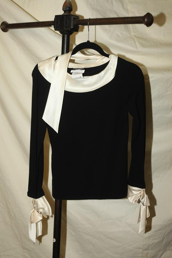 RENE-LANGE-SAKS-JANDEL BLACK TOP WITH CREAM SATIN COLLAR AND CUFFS, viscose/cashmere blend. Size small.