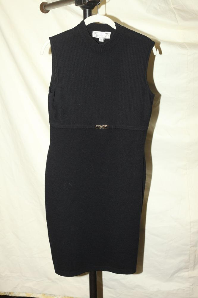 ST-JOHN-BLACK-WOOL-DRESS. size small.