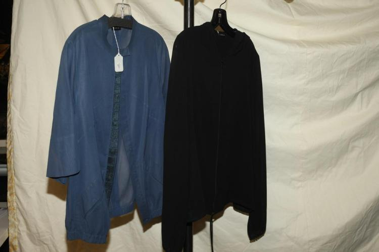 AKRIS TOPS, ONE BLUE; ONE BLACK, size large.