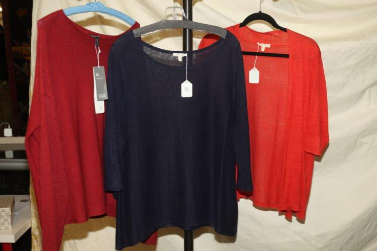 EILEEN FISHER SWEATERS; ONE RED, ONE NAVY, ONE ORANGE, size large, merino wool.