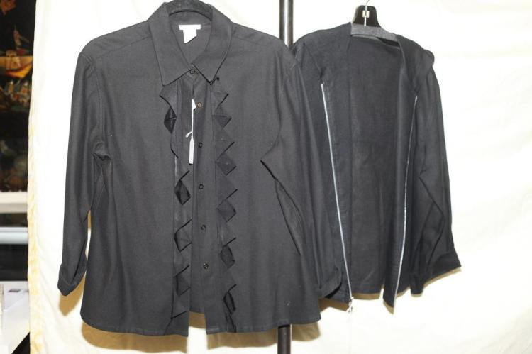 OSCAR DE LA RENTA BLACK JACKET AND JOHN PATRICK BLACK TOP. size 14.