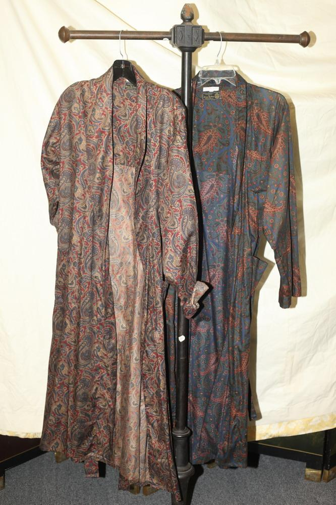 TWO MEN'S PIMA COTTON PAISLEY ROBES, Georges de Paris, size large and extra large.