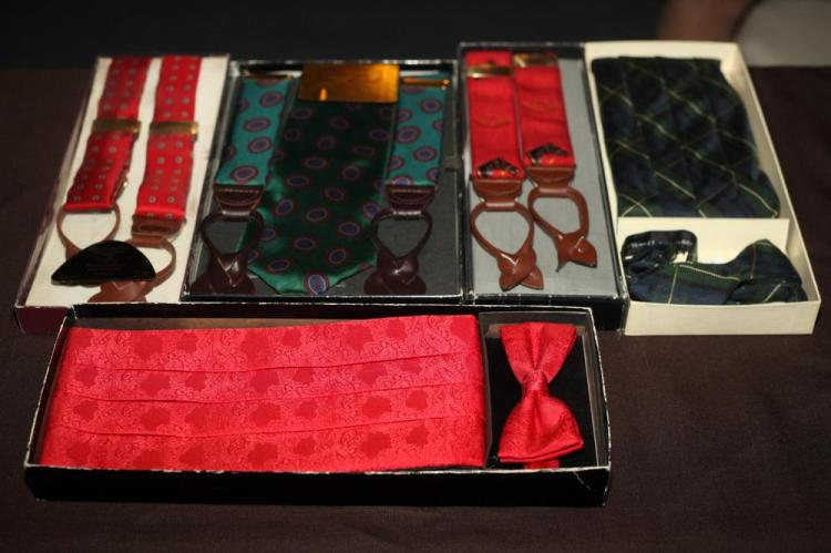 TWO CUMMERBUND SETS (ONE GREEN PLAID, ONE RED) AND THREE SUSPENDER SETS (ONE GREEN, TWO RED),