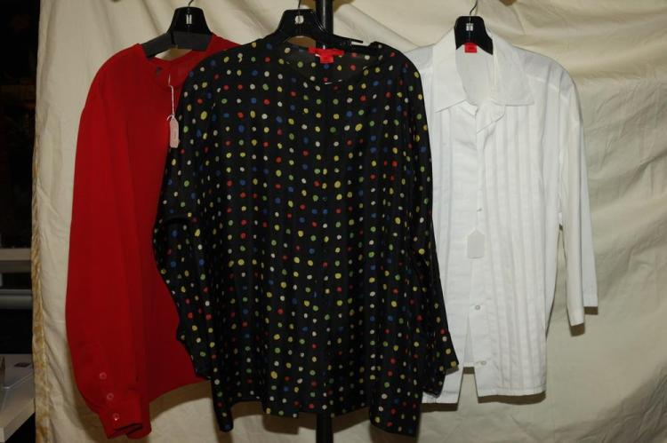 LOUIS FERAUD RED BLOUSE AND TWO SHMASK BLOUSES, size large.