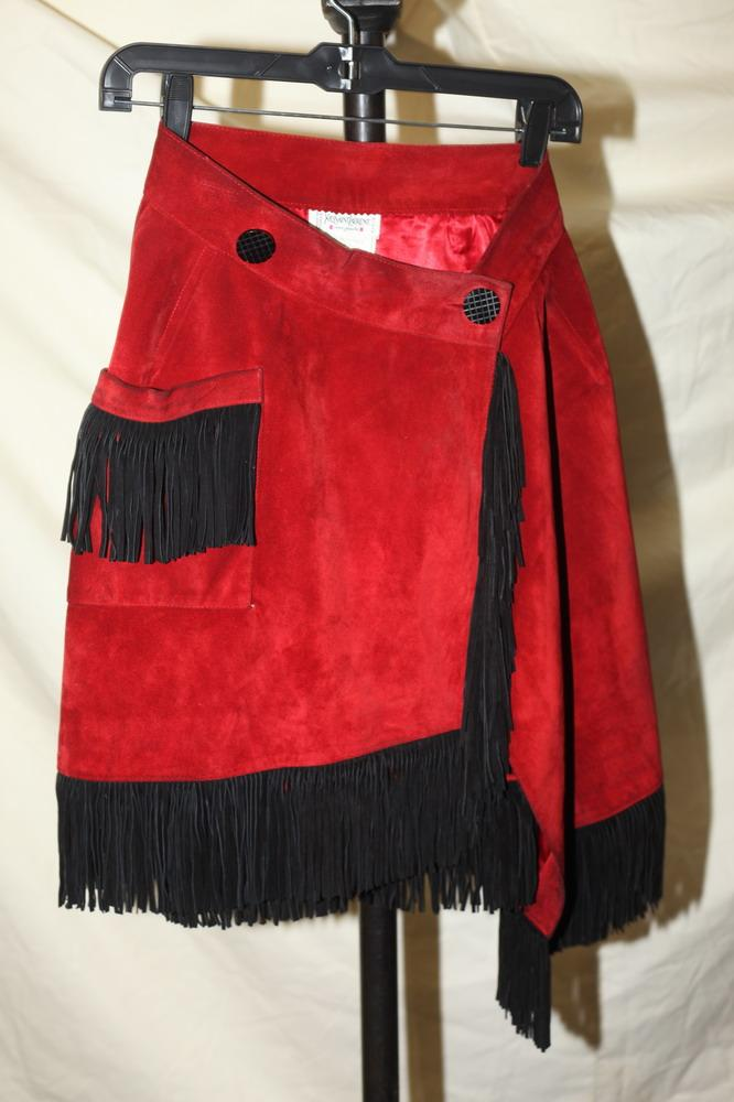 YVES SAINT LAURENT BRICK RED SUEDE SKIRT WITH BLACK FRINGE, size xs.