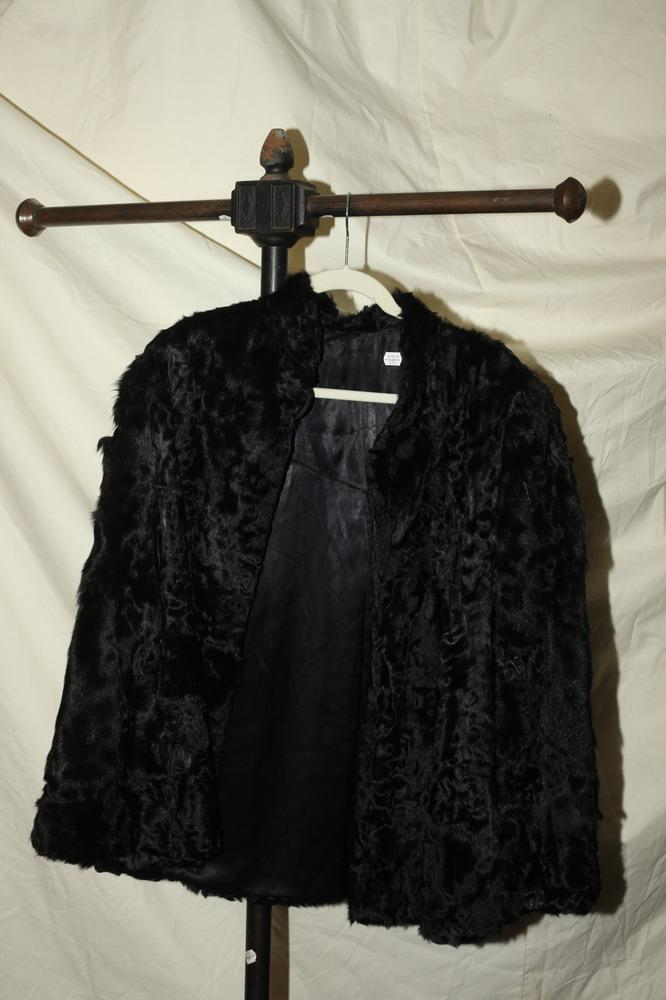 BLACK SHEARED FUR CAPE, NO LABEL.
