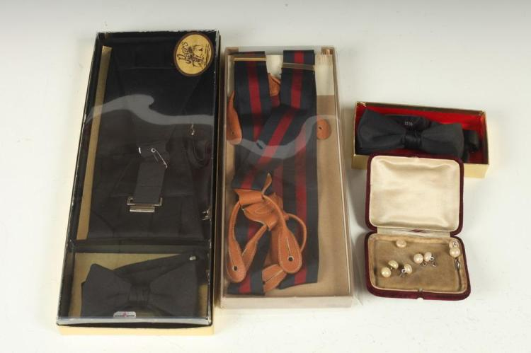 BLACK SILK CUMMERBUND& BOW TIE; RED/BLUE SUSPENDERS; PEARL CUFFLINKS/STUD SET; 1 PAIR CUFFLINKS; ROBE, c. 1950.