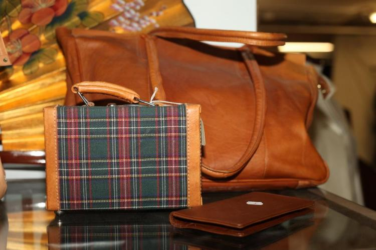 CINNAMON LEATHER BAG WITH PLAID MINI SUITCASE WITH TAN LEATHER TRIM AND BROWN LEATHER WALLET,