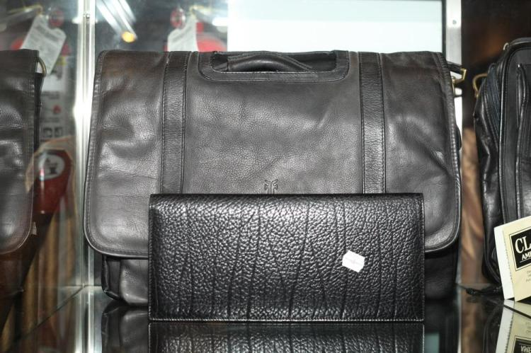 BLACK LEATHER BRIEFCASE AND BLACK LEATHER ACCESSORY,