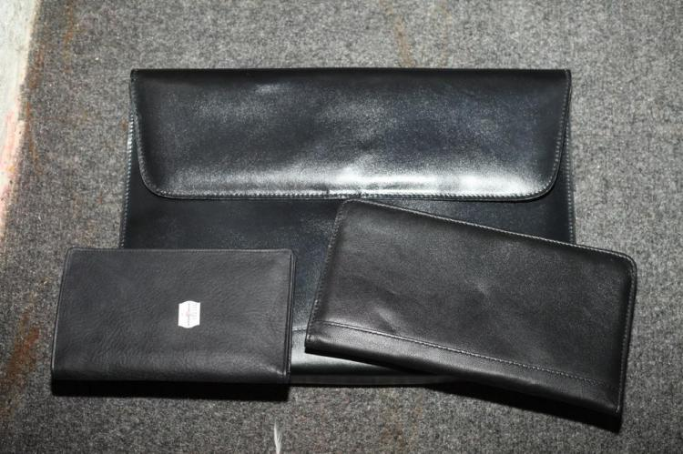BLACK LEATHER ENVELOPE-SHAPE FILE CASE AND TWO BLACK LEATHER ACCESSORIES,
