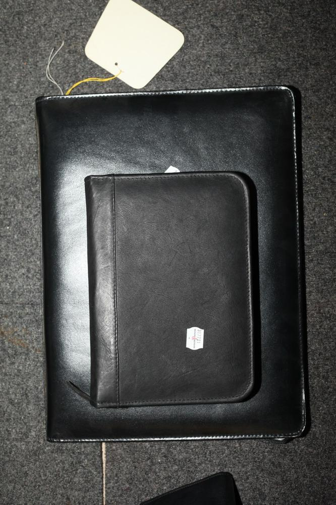 BLACK LEATHER ZIP FILE CASE AND BLACK LEATHER AGENDA,