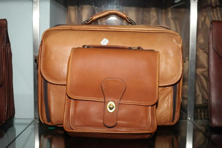TAN LEATHER BREIFCASE AND CARAMEL-COLORED LEATHER PURSE WITH GOLD-TONE ENCLOSURE,