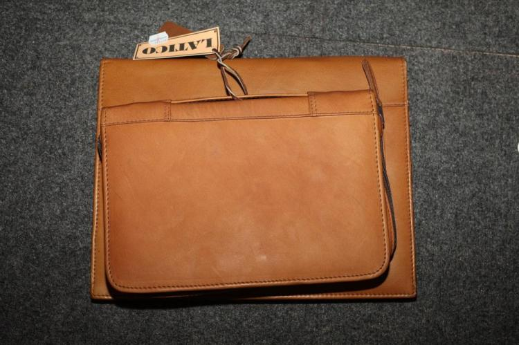 TAN LEATHE BRIEFCASE AND SMALL THREE-RING LEATHER BINDER,