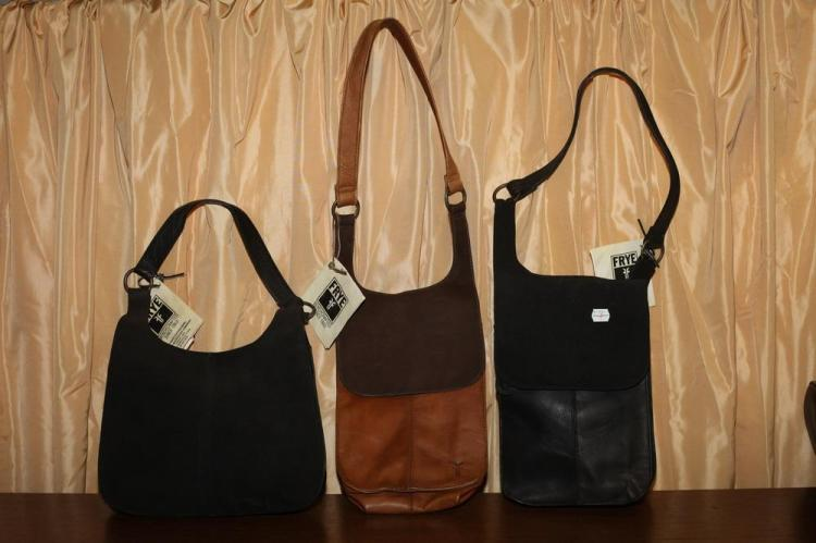 THREE LEATHER POUCHES, ONE BLACK LEATHER AND SUEDE; ONE CINNAMON LEATHER AND SUEDE, ONE BLACK LEATHER,