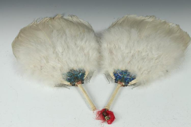 VINTAGE ASIAN FANS WITH WHITE FEATHERS,
