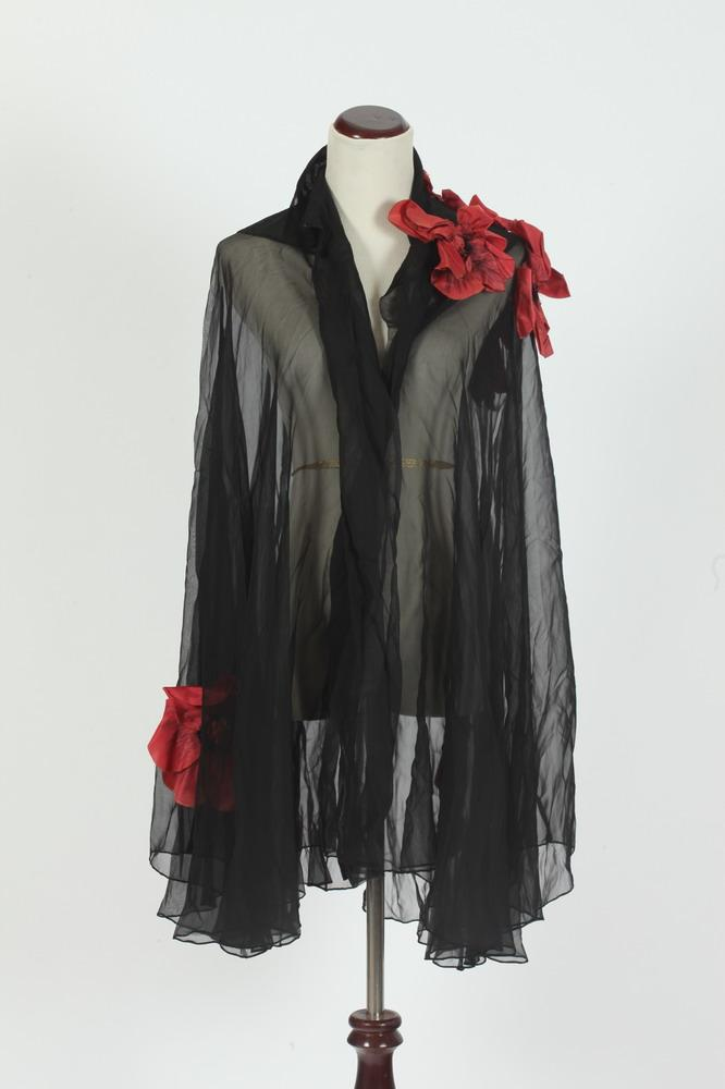 VINTAGE SHEER BLACK CAPE WITH ATTACHED RASPBERRY-COLORED FLOWERS,